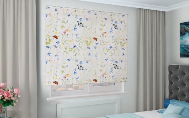 Рулонные шторы MGII ФЛОРА 0225 цв.белый