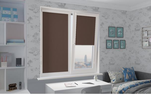 Рулонные шторы UNI1 АЛЬФА ALU BLACK-OUT 2871 цв.тём.коричневый