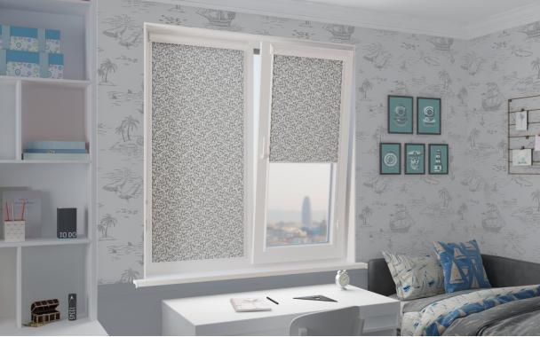 Рулонные шторы ШАТО UNI2 1881 цв.серый