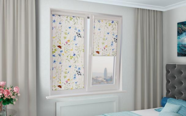 Рулонные шторы UNI1 ФЛОРА 0225 цв.белый