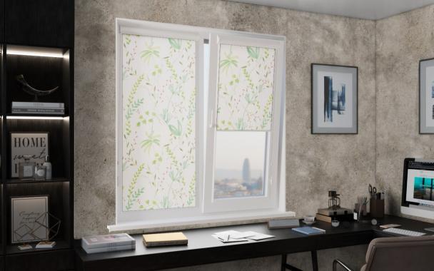 Рулонные шторы UNI1 ДЖУНГЛИ 0225 цв.белый