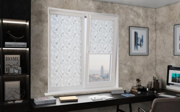 Рулонные шторы UNI2 ТРОПИК 1852 цв.серый