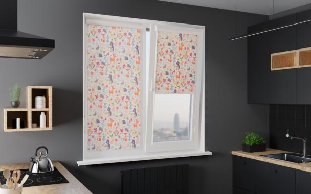 Рулонные шторы UNI1 СКАЗКА 0225 цв.белый