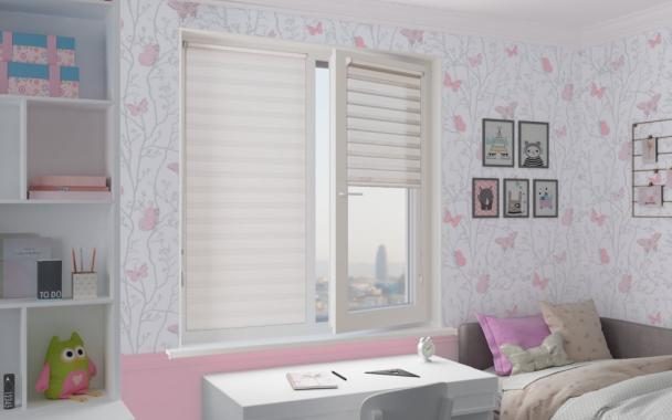 Рулонные шторы MINI-ZEBRA АДАЖИО 0225, белый
