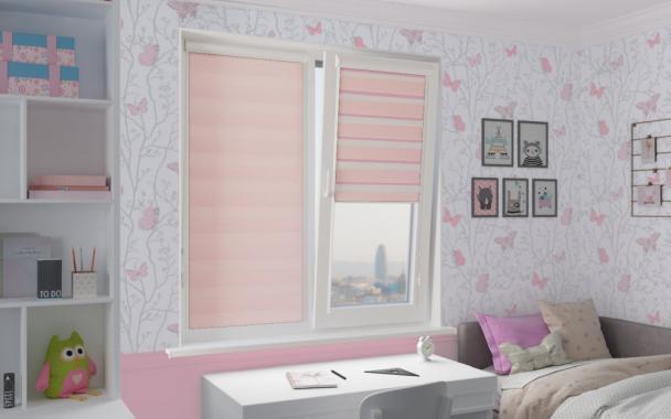 Рулонные шторы UNI2-ZEBRA СТАНДАРТ 4082 св.розовый