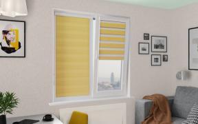 Рулонные шторы UNI2-ZEBRA СТАНДАРТ 4210 жёлтый 280 см ЗЕБРА