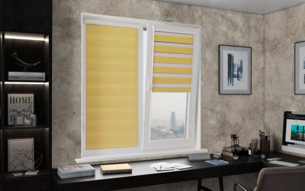 Рулонные шторы UNI1-ZEBRA СТАНДАРТ 4210 жёлтый