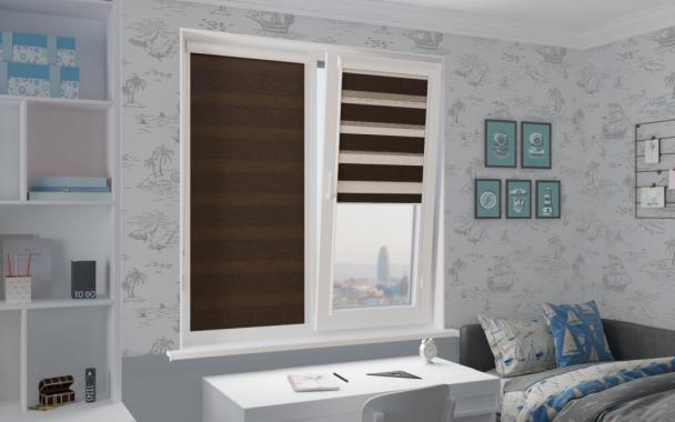 Рулонные шторы UNI2-ZEBRA ЭТНИК 2871, тём.коричневый
