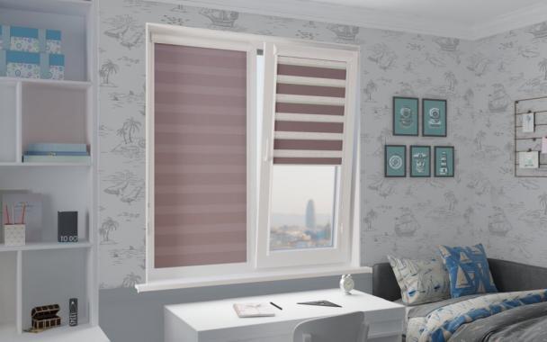 Рулонные шторы UNI1-ZEBRA СОФТ 4290 дымчато-лиловый