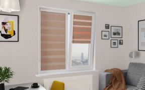 Рулонные шторы UNI2-ZEBRA ЛОФТ ВО 2870 коричневый, 280 см ЗЕБРА