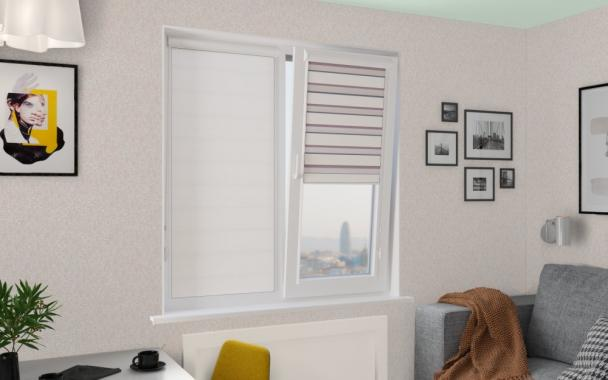 Рулонные шторы UNI1-ZEBRA ТЕТРИС 0225, белый