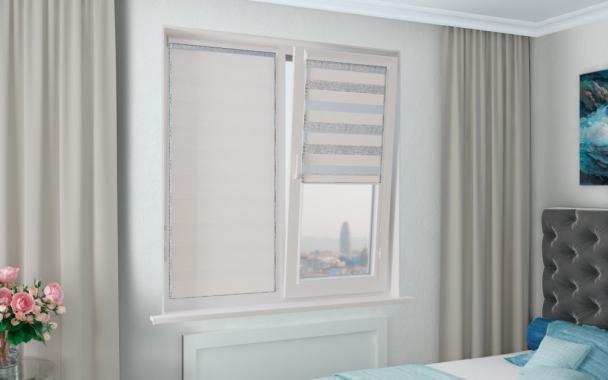 Рулонные шторы UNI1-ZEBRA АЙЛЕНД 0225, белоснежный