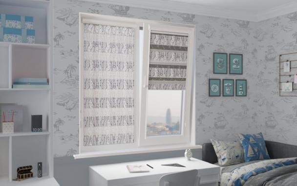 Рулонные шторы UNI1-ZEBRA КРУЖЕВО 1852 серый