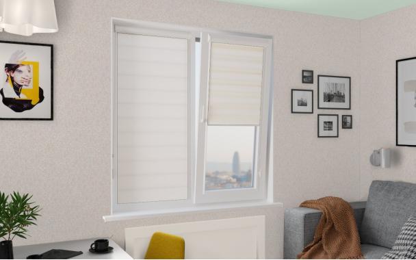 Рулонные шторы UNI1-ZEBRA ФРОСТ 0225 белый
