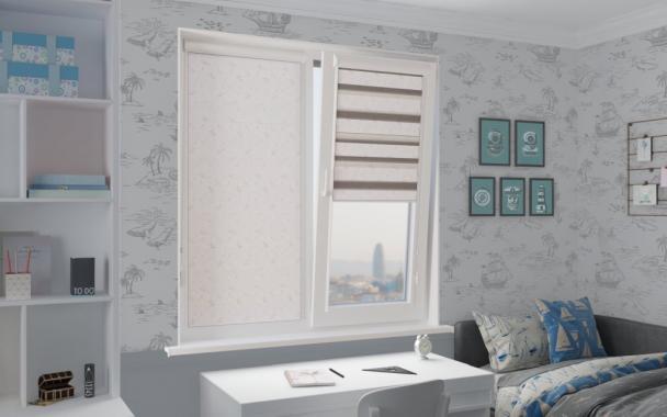 Рулонные шторы UNI1-ZEBRA ВАЛЕНСИЯ 0225, белый