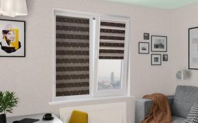 Рулонные шторы UNI2-ZEBRA ВАЛЕНСИЯ 2871, тём.коричневый, 280см ЗЕБРА