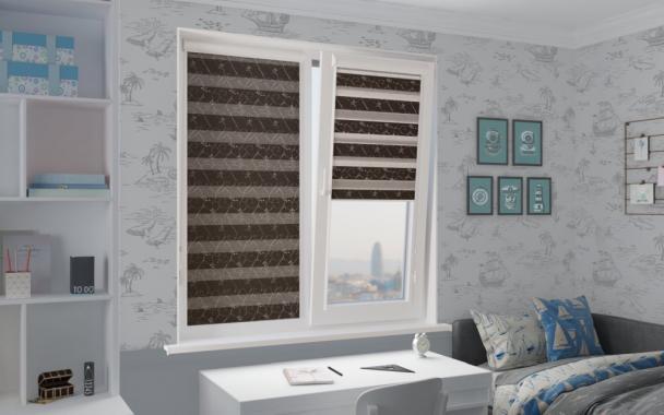 Рулонные шторы UNI1-ZEBRA ВАЛЕНСИЯ 2871, тём.коричневый